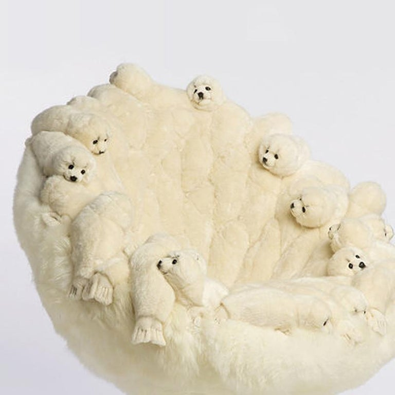 Polar Plush Baby Seals Armchair Swivel in Limited Edition For Sale 1