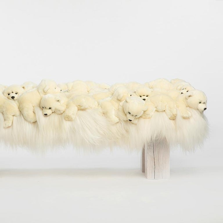 Hand-Crafted Polar Bear Bench in Limited Edition For Sale