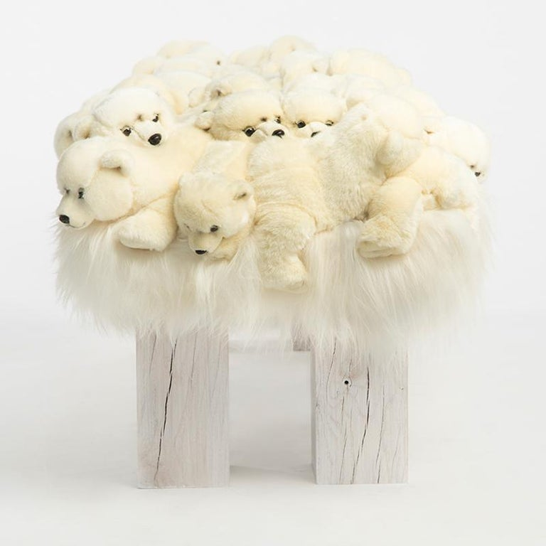 Wood Polar Bear Bench in Limited Edition For Sale