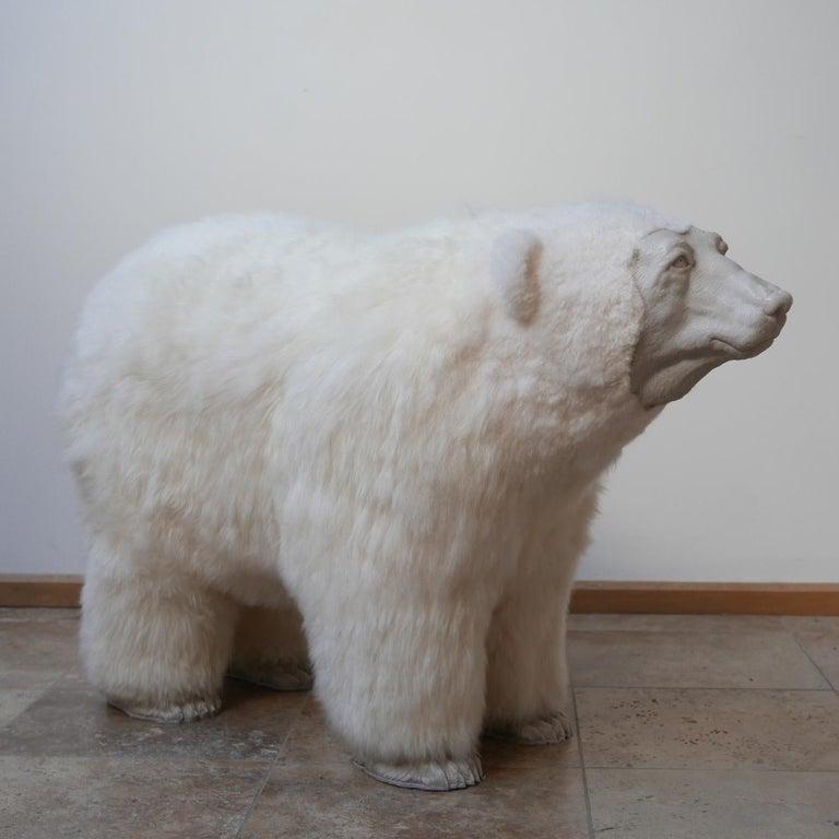 Carrara Marble Polar Bear Contemporary Art by Jose Granell Sculpture