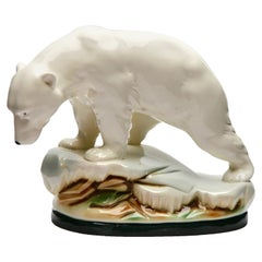 Polar Bear Figurine in White Glazed Porcelain, Hand Painted Detail, 1920s