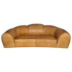Polar Bear Monumental Cresent Brown Leather Sofa, France