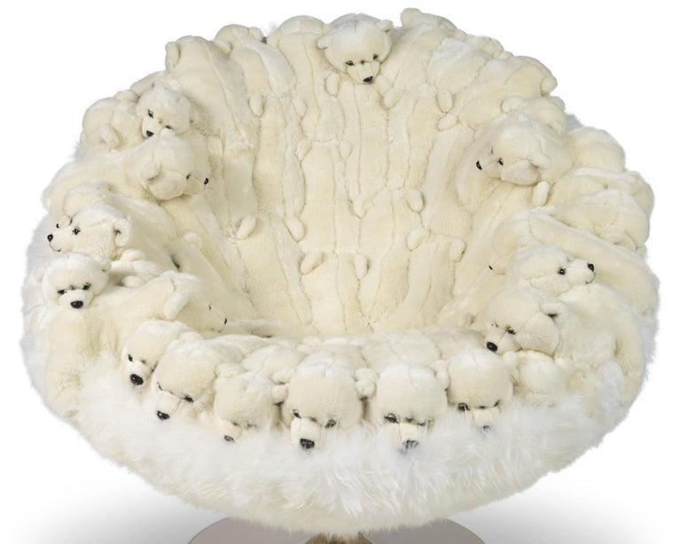 Armchair Polar Plush baby Bears made with small plush seals on all the back seat. Minutely handmade piece, handcrafted details with high quality synthetic white fur and white hairs. Exceptional piece, limited edition of 30 pieces.