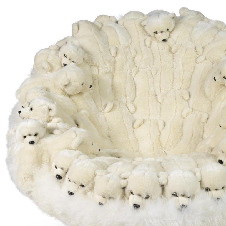 Belgian Polar Plush Baby Bears Armchair Swivel in Limited Edition For Sale