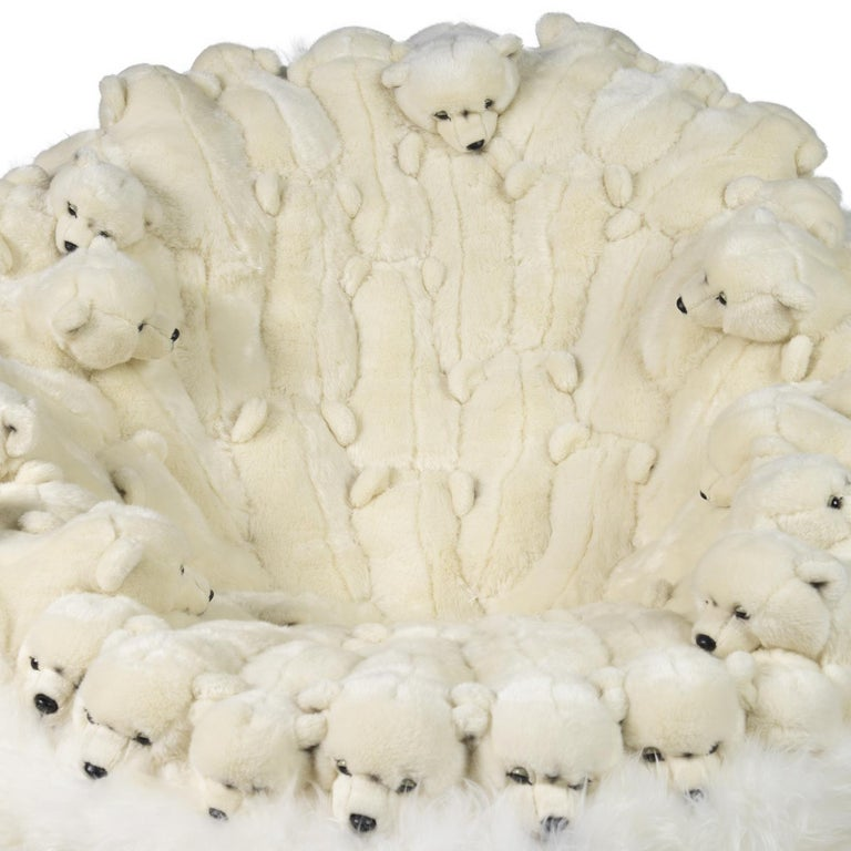 Polar Plush Baby Bears Armchair Swivel in Limited Edition In New Condition For Sale In Paris, FR
