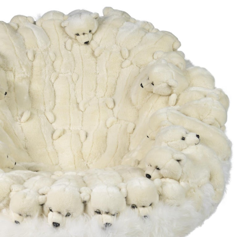 Contemporary Polar Plush Baby Bears Armchair Swivel in Limited Edition For Sale