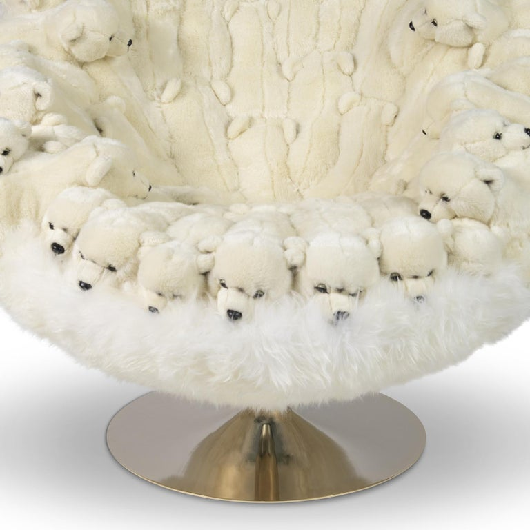 Polar Plush Baby Bears Armchair Swivel in Limited Edition For Sale 1