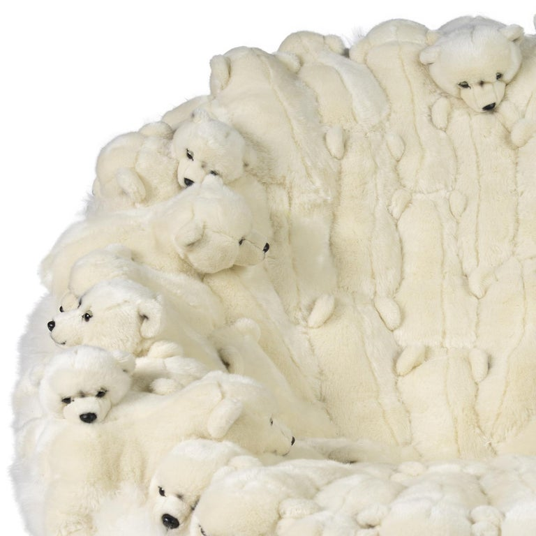 Polar Plush Baby Bears Armchair Swivel in Limited Edition For Sale 2