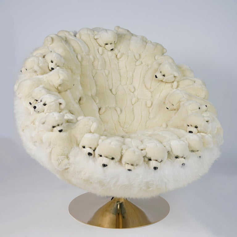 Polar Plush Baby Bears Armchair Swivel in Limited Edition For Sale 3