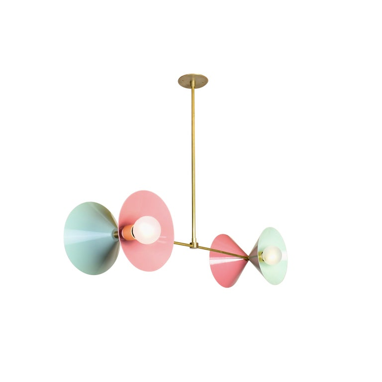 Modern Polarize Pendant Light in Brass with Celadon & Pink Enamel by Blueprint Lighting For Sale