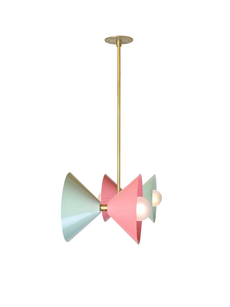 American Polarize Pendant Light in Brass with Celadon & Pink Enamel by Blueprint Lighting For Sale