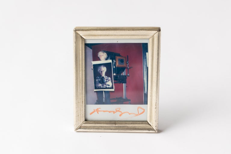 Polaroid of Andy Warhol Holding Polaroid by Bill Ray Signed Andy Warhol For Sale 3