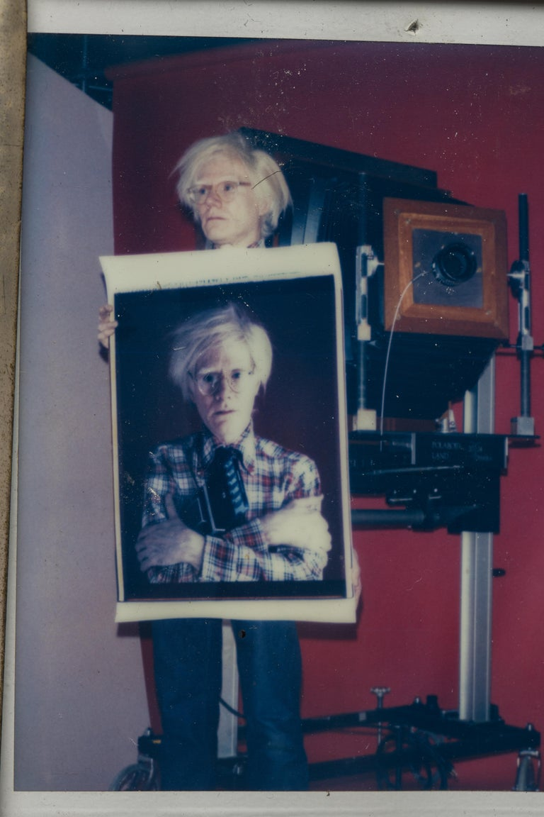 American Polaroid of Andy Warhol Holding Polaroid by Bill Ray Signed Andy Warhol For Sale