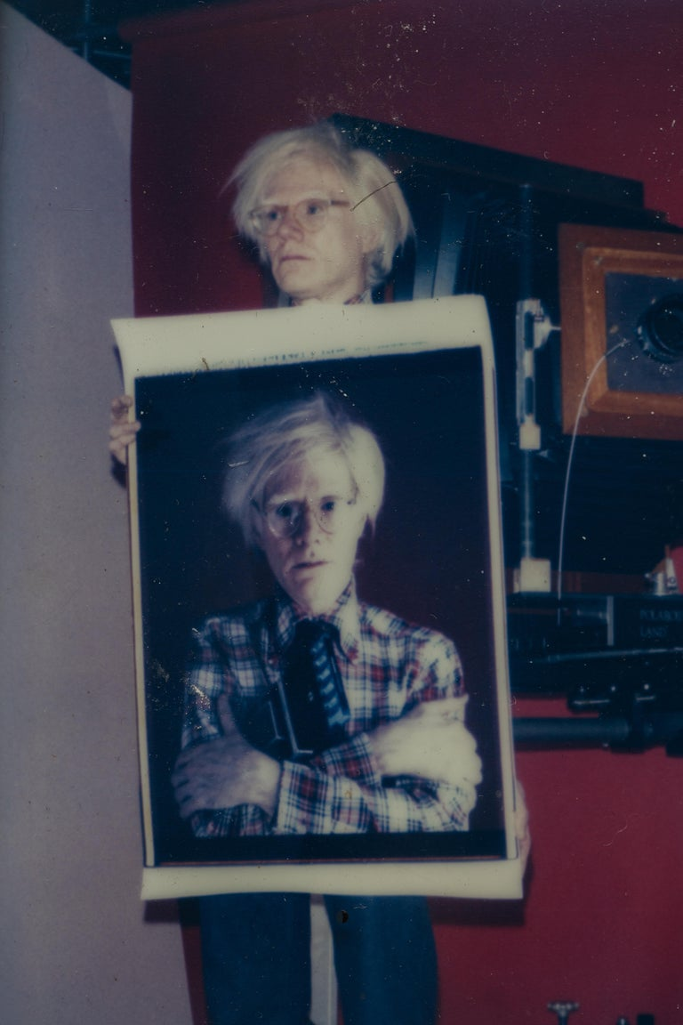 Polaroid of Andy Warhol Holding Polaroid by Bill Ray Signed Andy Warhol In Good Condition For Sale In New York, NY