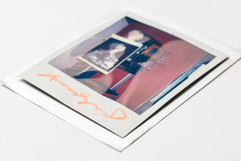20th Century Polaroid of Andy Warhol Holding Polaroid by Bill Ray Signed Andy Warhol For Sale