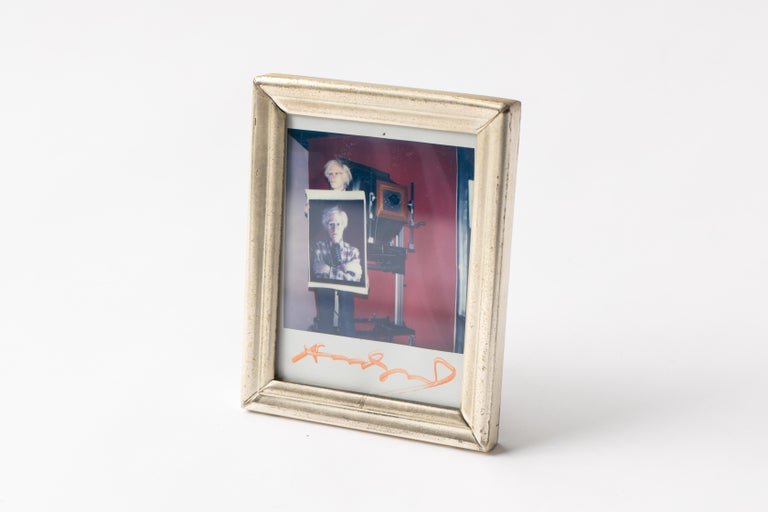 Polaroid of Andy Warhol Holding Polaroid by Bill Ray Signed Andy Warhol For Sale 2