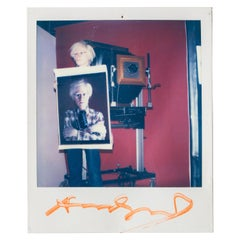 Polaroid of Andy Warhol Holding Polaroid by Bill Ray Signed Andy Warhol