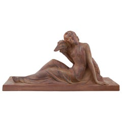 Polbert French Art Deco Terracotta Lady with a Greyhound, 1930s