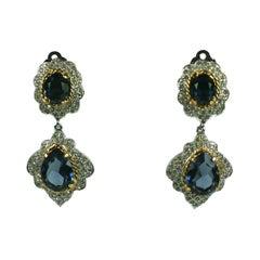 Polcini Faux Diamond and Sapphire Drop Earrings