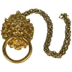 Polcini Lion's Head Pendant Necklace