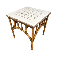 Pole Rattan Center Coffee Table with Solid Resin Top