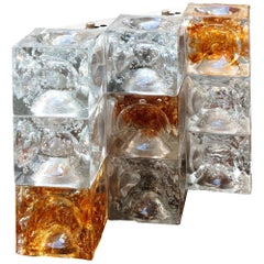 Poli Midcentury Crystal and Orange Glass Italian Sconce for Poliart, 1970