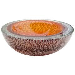 Poli Seguso Vetri d'Arte Murano Orange Sommerso Bubbles Italian Art Glass Bowl