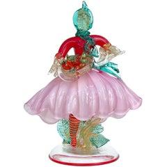 Poli Seguso Vetri d'Arte Murano Red Pink Gold Italian Art Glass Woman Sculpture