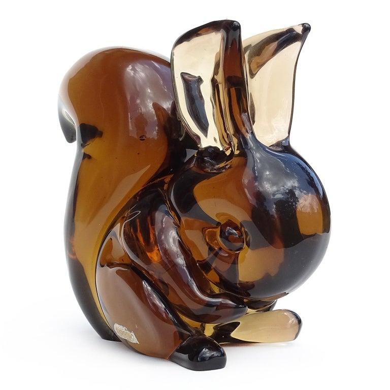 Mid-Century Modern Poli Seguso Vetri D'Arte Murano Sommerso Italian Art Glass Squirrel Sculpture For Sale