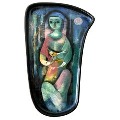 Polia Pillin Ceramic Etherial Seated Woman with Bird in Nature Tray