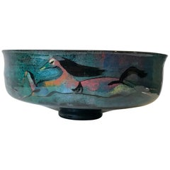 Polia Pillin Studio Pottery Bowl with Painted Horses, 20th Century