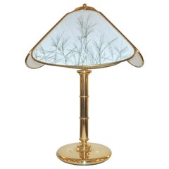 Poliarte 1960s Italian Feather Reed Grass Decor Cream White Glass Brass Lamp