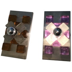 Poliarte Couple Sconces Murano Glass in Gold and Lilac Chrome-Plated Brass, 1960