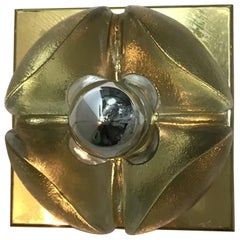Poliarte Four Flower-Shaped Sconces Brass Murano Glass, 1965