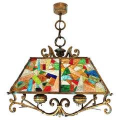 Poliarte Longobard Hammered Glass and Wrought Iron Large Lantern Pendant