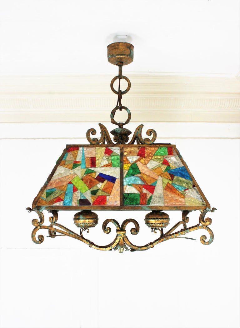 Italian Poliarte Longobard Hammered Glass and Wrought Iron Large Lantern Pendant For Sale