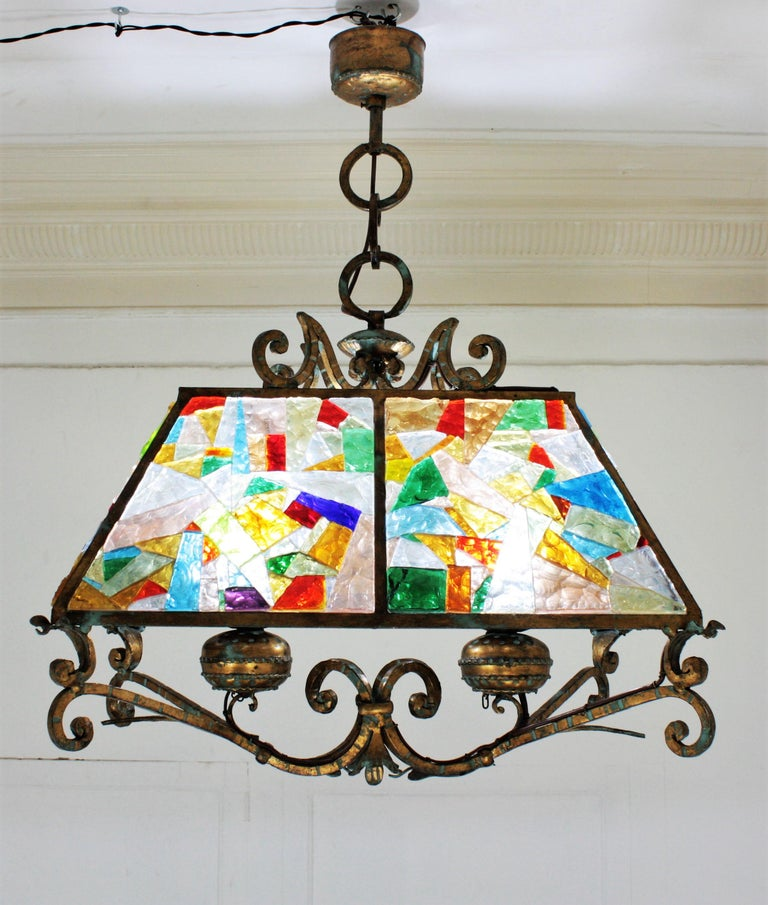 20th Century Poliarte Longobard Hammered Glass and Wrought Iron Large Lantern Pendant For Sale