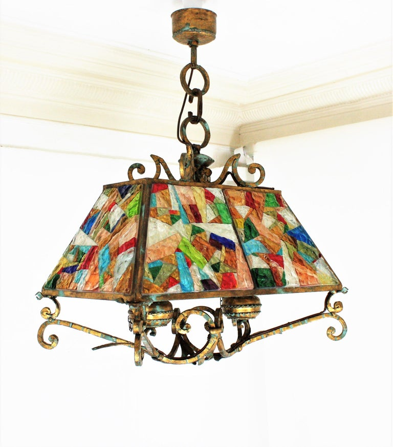 Poliarte Longobard Hammered Glass and Wrought Iron Large Lantern Pendant For Sale 2