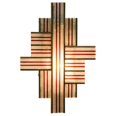 Poliarte Wall-lamp Interlocking Lines in Art Glass and Bronze