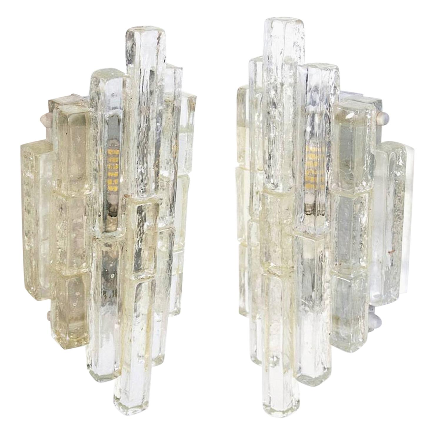 Poliarte Wall Sconces in Clear Glass, Italy, 1960s