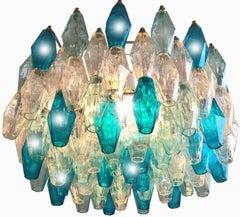 Poliedri Aquamarine Blue and Ice Murano Chandelier in the Style of Carlo Scarpa
