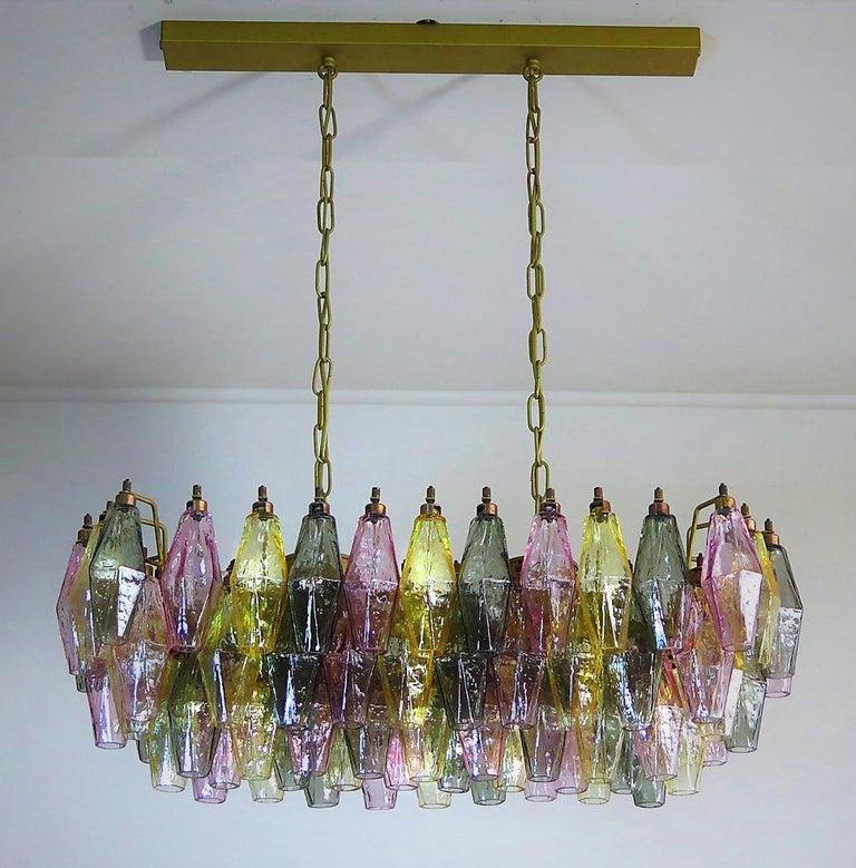 Poliedri Candelier Carlo Scarpa Style, 84 Multicolored Glasses, Murano 4
