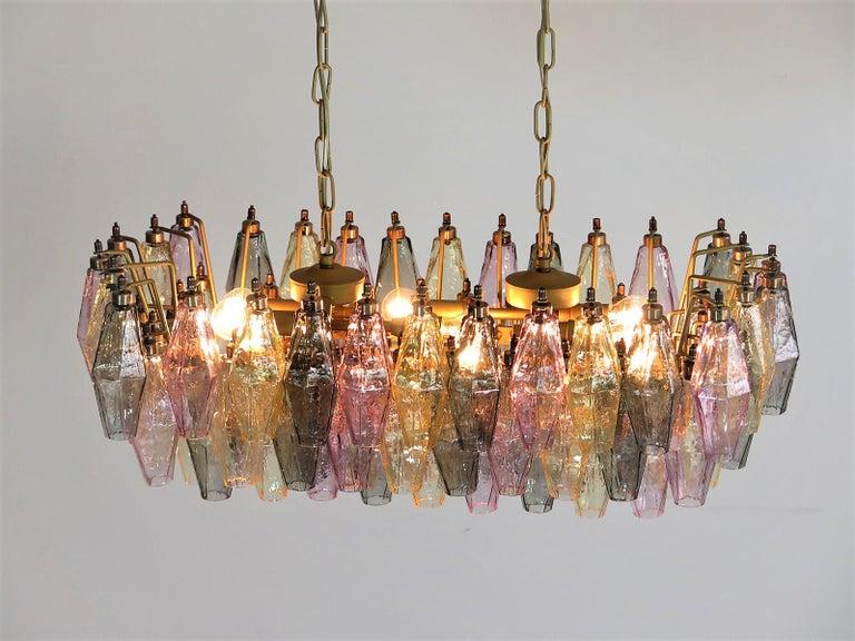Poliedri Candelier Carlo Scarpa Style, 84 Multicolored Glasses, Murano In Excellent Condition In Budapest, HU