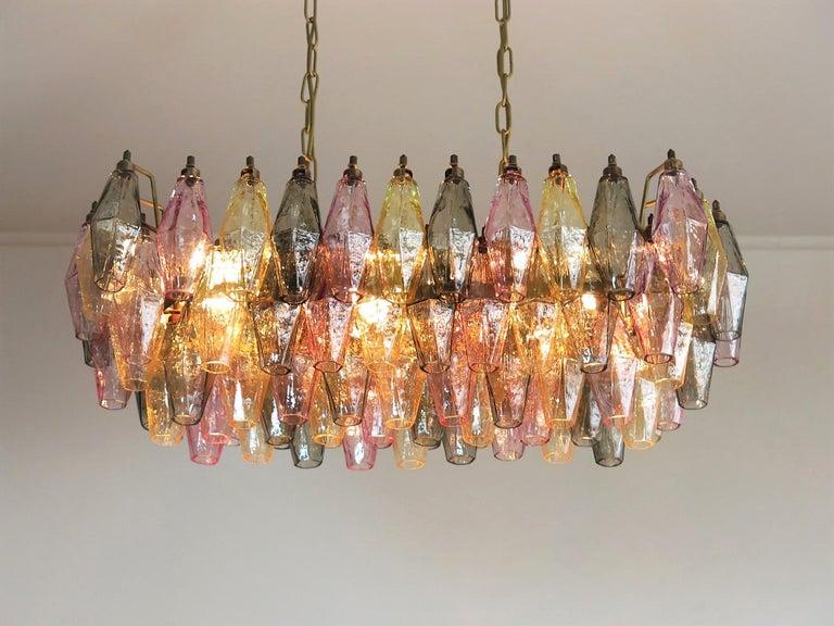 Metal Poliedri Candelier Carlo Scarpa Style, 84 Multicolored Glasses, Murano
