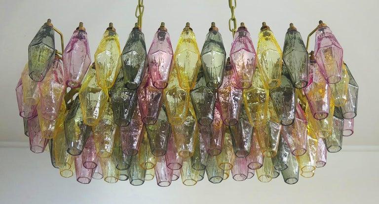 Poliedri Candelier Carlo Scarpa Style, 84 Multicolored Glasses, Murano 3