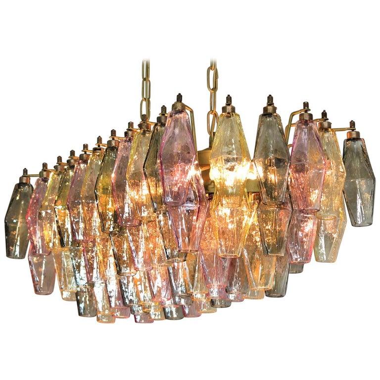Poliedri Candelier Carlo Scarpa Style, 84 Multicolored Glasses, Murano