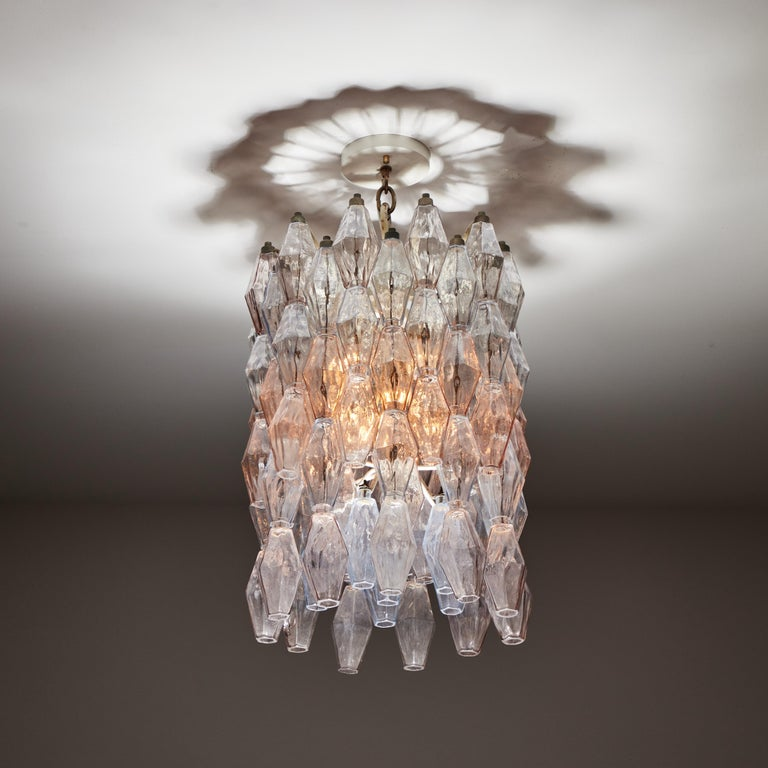 Poliedri chandelier by Carlo Scarpa for Venini. Designed and manufactured in Italy, circa 1960's. Murano glass, original canopy. Wired for U.S. standards.  Literature: Anna Venini Diaz de Santillana (edited by)