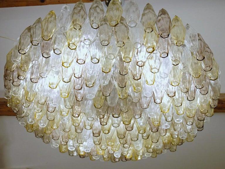 Poliedri Chandelier Murano Clear Amber Amethyst Glass 5