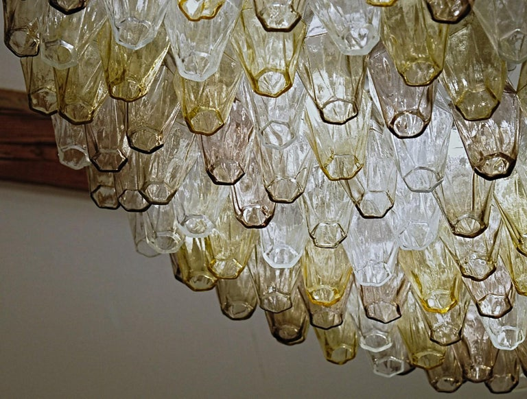 Poliedri Chandelier Murano Clear Amber Amethyst Glass 6