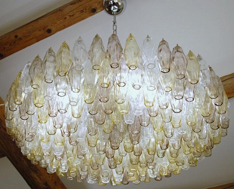 Poliedri Chandelier Murano Clear Amber Amethyst Glass 10